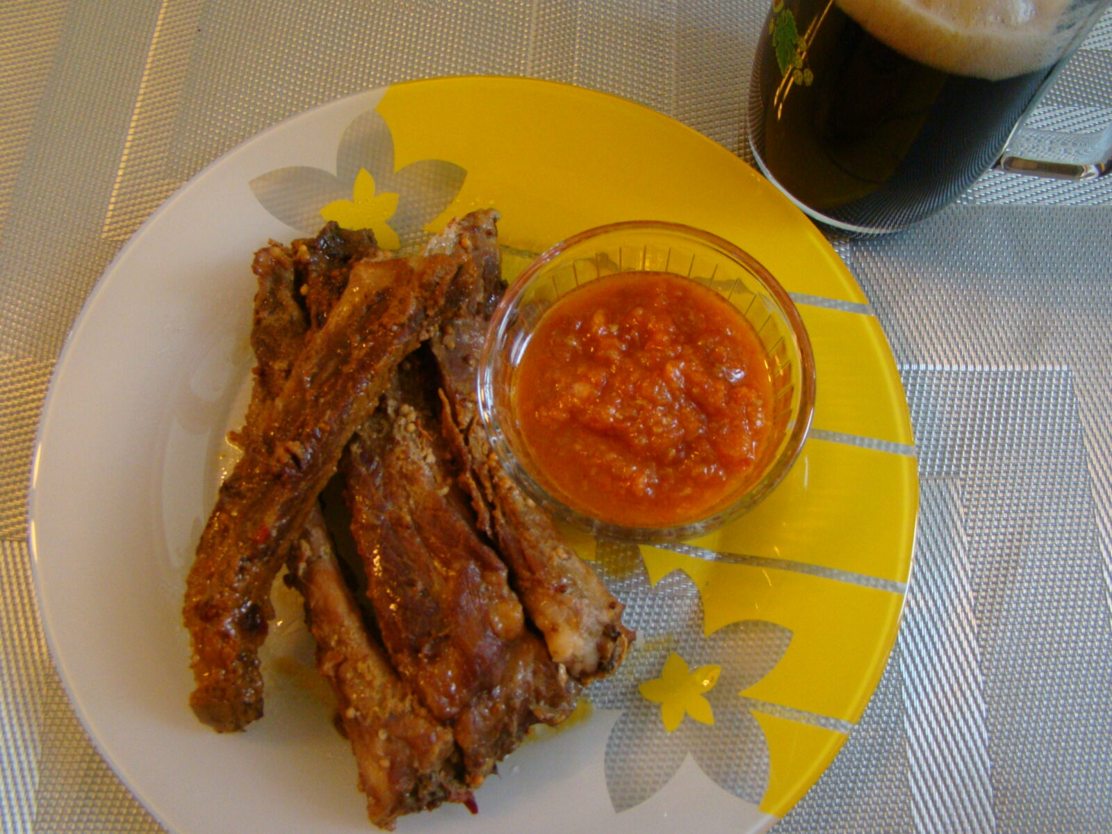 Рецепт ребрышек в медово-горчичном соусе