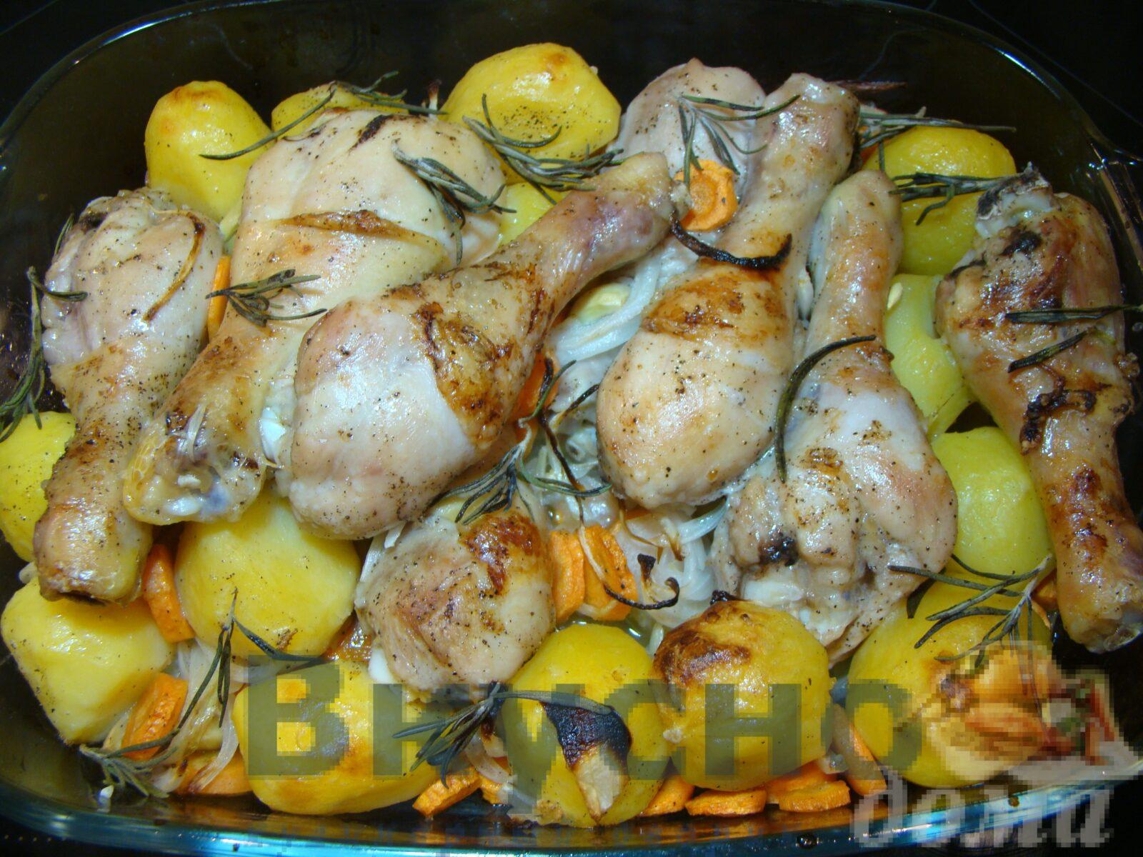 Лимонная курица с картофелем и овощами